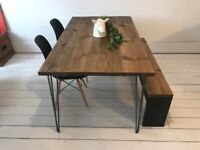 ARTEMIS Handmade Hairpin Leg Dining Table with Chairs and a Bench Industrial Free Delivery