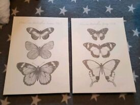 Set of two butterfly canvases
