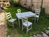 Painted wooden table & chairs