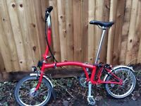 Brompton H3L folding bike with extras - one year old