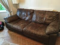 Free - leather sofa, armchair & footstool