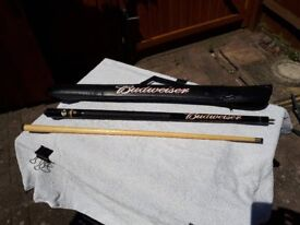 Budweiser Used 2 Piece Pool Cue With Soft Carry Case