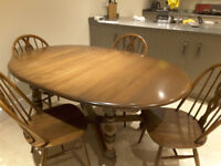Vintage Ercol oval extending dining/kitchen table and chairs
