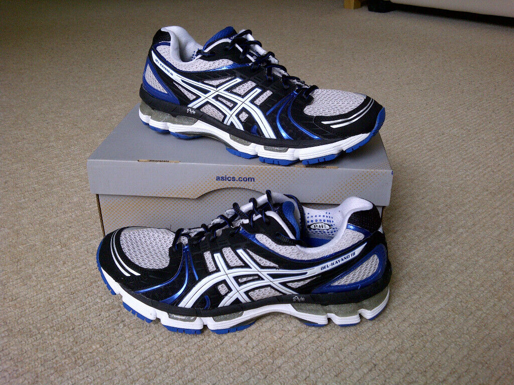 buying now top-rated quality exquisite design Asics Gel Kayano 18 – Running Shoes / Trainers – Size 8 – Mens – Black /  White / Blue | in West End, Glasgow | Gumtree