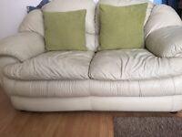 3+2 leather sofa cream