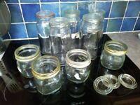Glass Kilner jars for preserving or storage