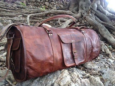 "New Men's duffel genuine Leather large vintage  travel gym Round 24""bag"