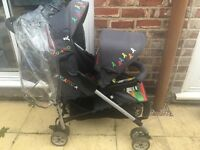 Cosatto duet lite pushchair double pram tandem twin buggy