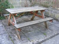 HARDWOOD GARDEN PICNIC TABLE