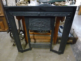 Cast Iron Stovax Fire Insert Surround Nice Condition Tiles Missing Reclaimed