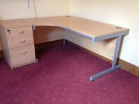 Beech office desk with matching pedastal - as new