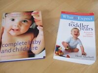Two parenting guides: 1) What to Expect – Toddler Years, 2) Complete Baby and Childcare