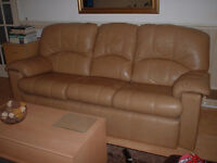 Large Real Leather Sofa. G Plan Sand colour. Collection only (See details)