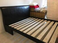 Lucia Black Faux Leather Upholstered Bed Frame and Tempur Matress