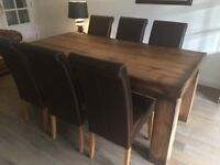 Fabulous Hand Made Solid Oak Dining Table And Six Leather Chairs