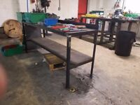 General use work bench- steel frame with wood top and shelf