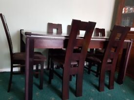 Wooden Table + 6 Chairs