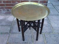 Antique Vintage Egyptian Etched Brass Round Tray FoldingTable