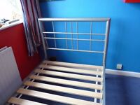 Silver metal bed frame - single bed