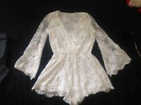 White lace Lioness playsuit. Size M.