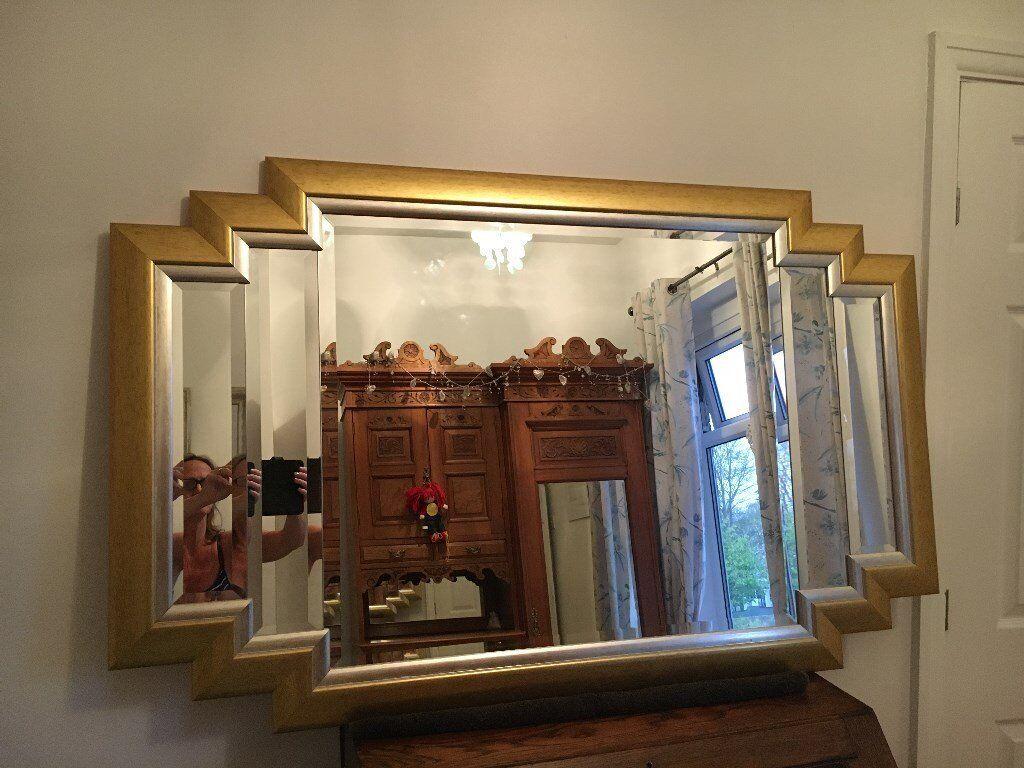 Large Gold Frame Mirror: Beautiful Large Vintage Gold Framed Art Deco
