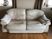 SOLD SOLD SOLD Cream leather sofa x 2 & chair x 1