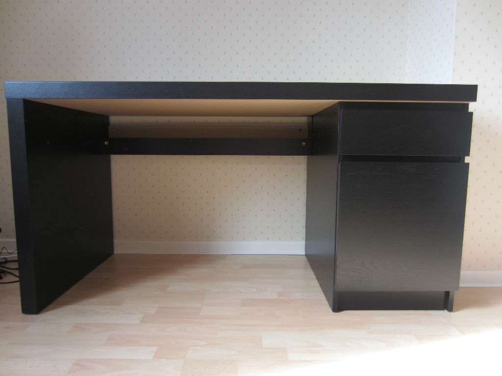 Ikea Malm Desk Black Brown Excellent Condition