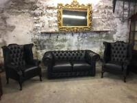 Black Leather Chesterfield Suite