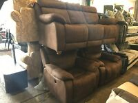 Harveys Westchester Brown Suede Fabric 3 Seater Sofa and 2 Armchairs Three Piece Suite RECLINER