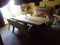 Solid Oak Dining/Kitchen Table and 8 chairs