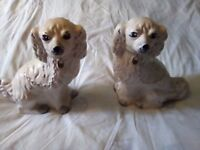 Pair or vintage porcelain dogs