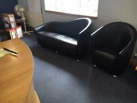 office furniture 3 seater real leather and tub chairs