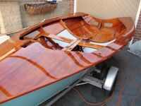 Beautifully restored National 12 wooden sailing dinghy N3169 with combi road trailer and trolley.