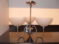 3 Arm light fitting in satin chrome with marbled glass shades.