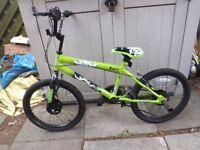 Flight Panic BMX Bicycle 20 inch wheel Lime Green an Black