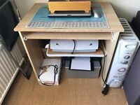 Light weight plywood computer desk and plastic office chair. Good condition.