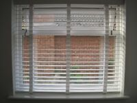 Pure White & White Wooden Blind with Tapes - 50mm Slats