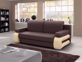 """""""""""ITALIAN DESIGN"""""""" BRAND NEW SOFA BED 3 SEATER FAUX LEATHER +FABRIC CUSHION COVER + STORAGE sofabed"""
