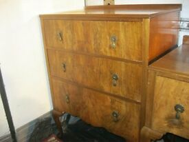 VINTAGE QUALITY WALNUT CHEST OF DRAWERS 'RALEIGH' 3 VERY DEEP DRAWERS. VIEWING/DELIVERY AVAILABLE