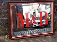 VINTAGE 70s LARGE M&B MITCHELLS & BUTLERS ORIG PUB MIRROR FAB HOME MANCAVE WINE BAR DECOR DISPLAY GC