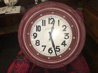 Marvellous Brand New Extra Large Deep Case Ridge Porthole Wall Clock - Burgundy