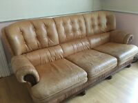 Italian leather Sofa and two armchairs