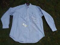 BNWT Ralph Lauren Blake Men's Blue Striped Cotton Shirt Classic Fit size L