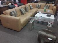 Peach Leather Corner Sofa (7 Seater Large)