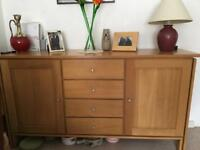Oak sideboard with two cupboards and drawers