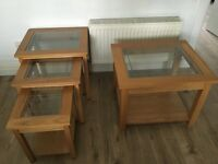 Oak nest of 3 tables & lamp table