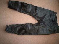 Mens JTS Leather Motorbike Trousers - 38 Regular