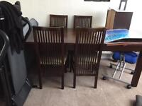 Table & 6 Chairs Hardwood Teak & Leather