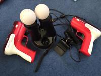 PlayStation move controllers, guns and games bundle for PS3