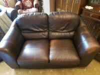 Chocolate Brown Leather 3 seater, 2 seater sofas and chair.